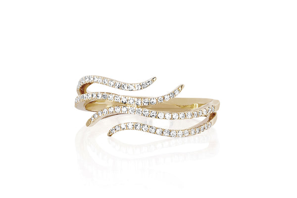 EF Collection Diamond Double Wave Ring - 1