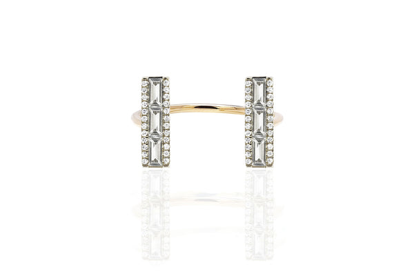EF Collection Open Diamond White Topaz Baguette Bar Ring - 1