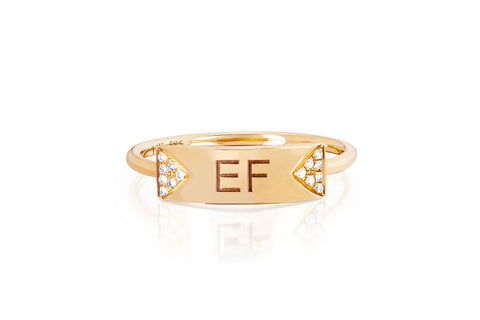 EF Collection Diamond Triangle Nameplate Ring - 1