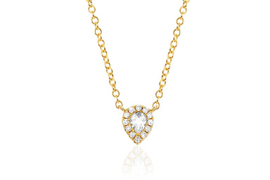 EF Collection Diamond White Topaz Mini Teardrop Choker - 1