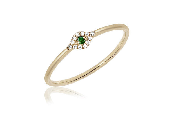 Diamond Tsavorite Mini Evil Eye Stack Ring