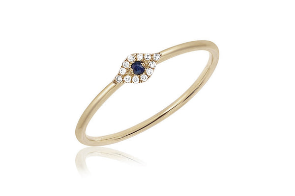EF Collection Diamond Mini Evil Eye Stack Ring - 1