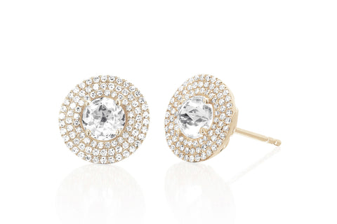 EF Collection Diamond Jumbo White Topaz Stud Earrings
