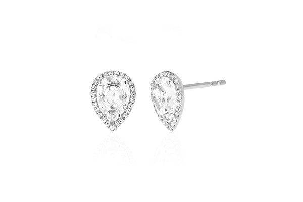 EF Collection Diamond White Topaz Teardrop Stud Earring