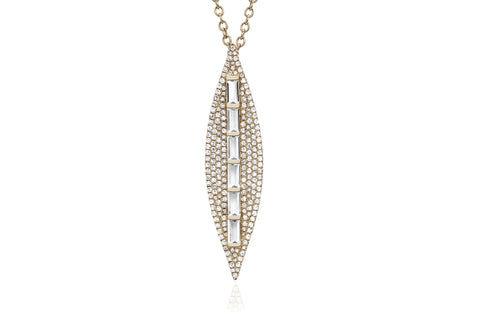 EF Collection Diamond White Topaz Baguette Leaf Necklace - 1