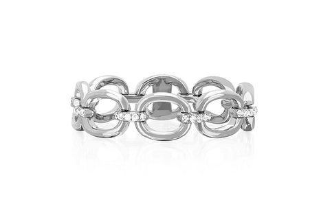 EF Collection Partial Diamond Chain Link Ring - 1