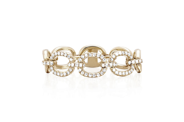 EF Collection Half Diamond Chain Link Ring