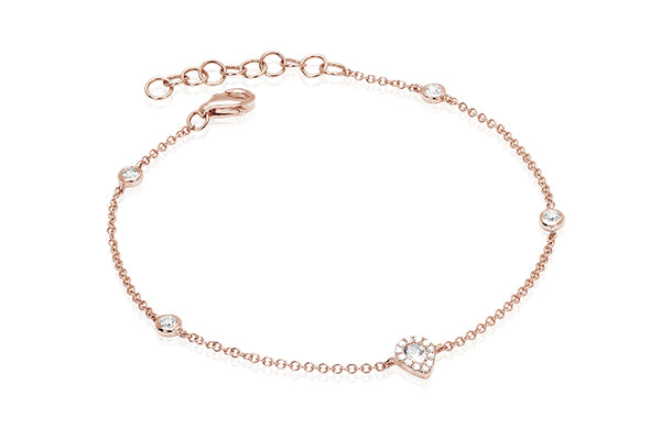 EF Collection Diamond Teardrop Bezel Chain Bracelet - 1