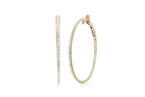 EF Collection Diamond Round Hoop Earrings