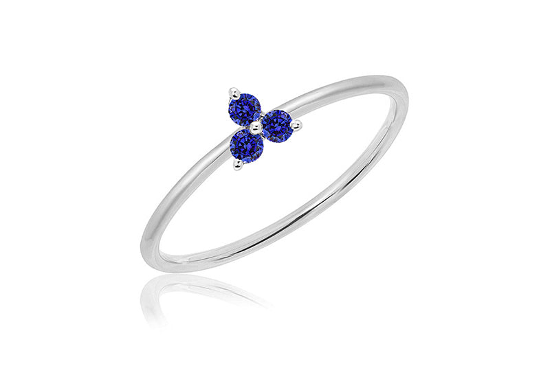 Blue Sapphire Trio Stack Ring