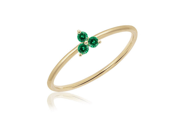 EF Collection Diamond Emerald Trio Stack Ring - 1