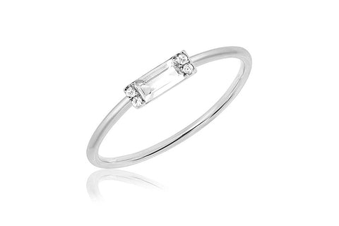 EF Collection Diamond White Topaz Baguette Stack Ring - 1