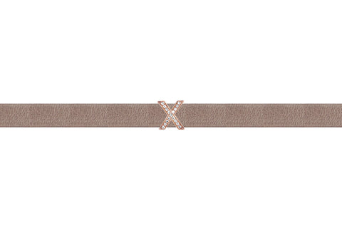 EF Collection Diamond Mini X Leather Choker / Double Wrap Bracelet - 1