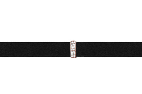 EF Collection Diamond Bar Leather Choker / Double Wrap Bracelet - 1