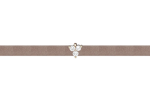 EF Collection Diamond Mini Trio Leather Choker / Double Wrap Bracelet - 1