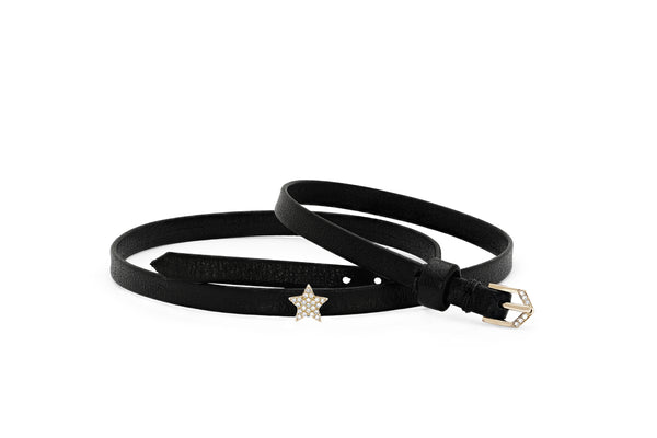 Diamond Mini Star Leather Choker / Double Wrap Bracelet