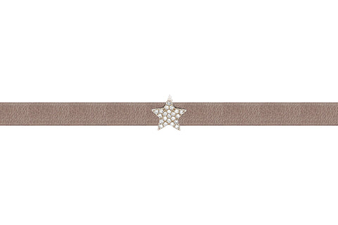 EF Collection Diamond Mini Star Leather Choker / Double Wrap Bracelet - 1