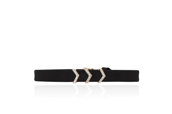 EF Collection Diamond Triple Chevron Leather Bracelet - 1