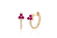 Diamond Ruby Trio Huggie Earring
