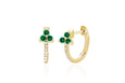 Diamond Emerald Trio Huggie Earring