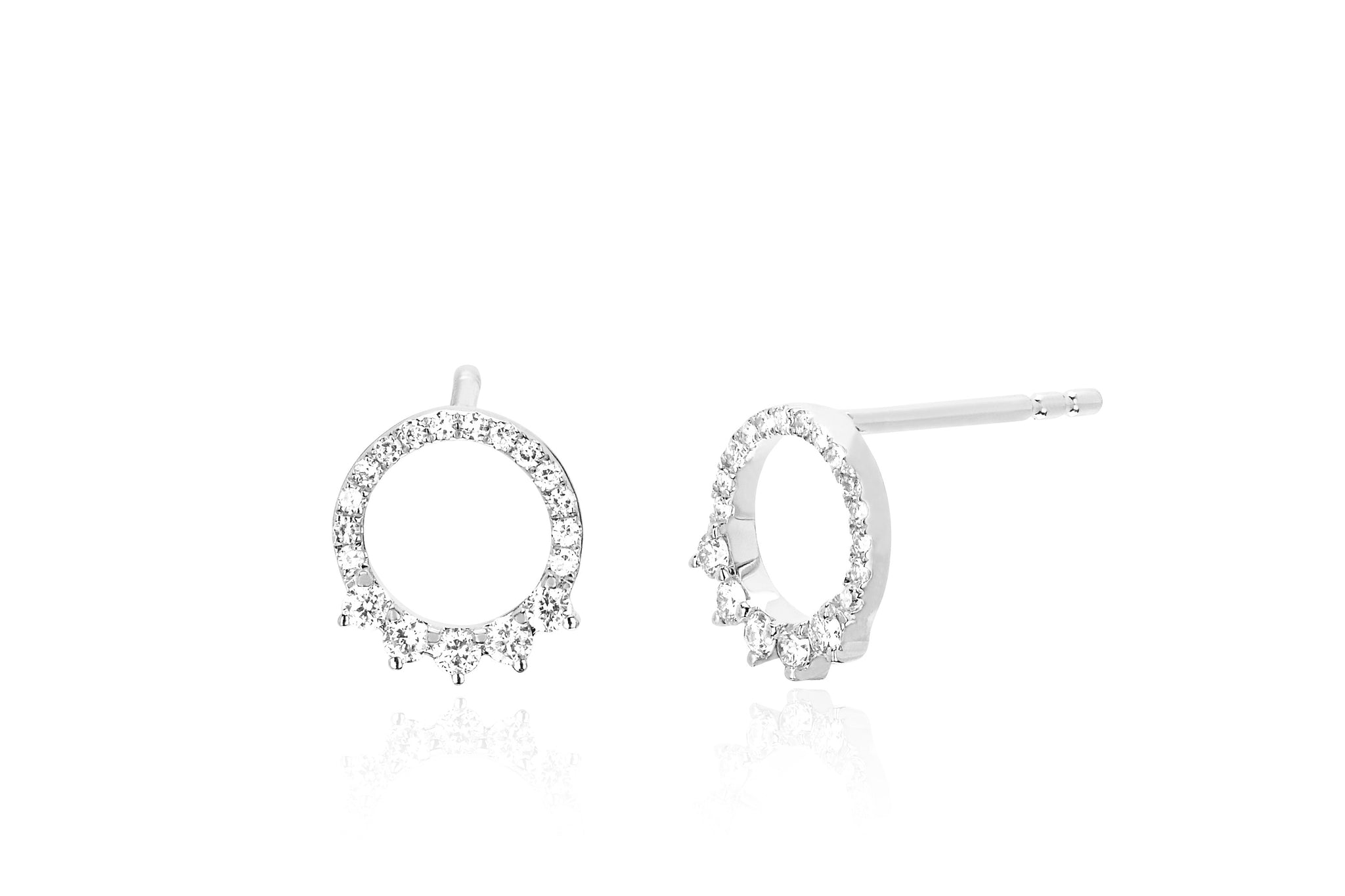 cubic silver earrings sterling stud ear plated rhodium circle zirconia default open