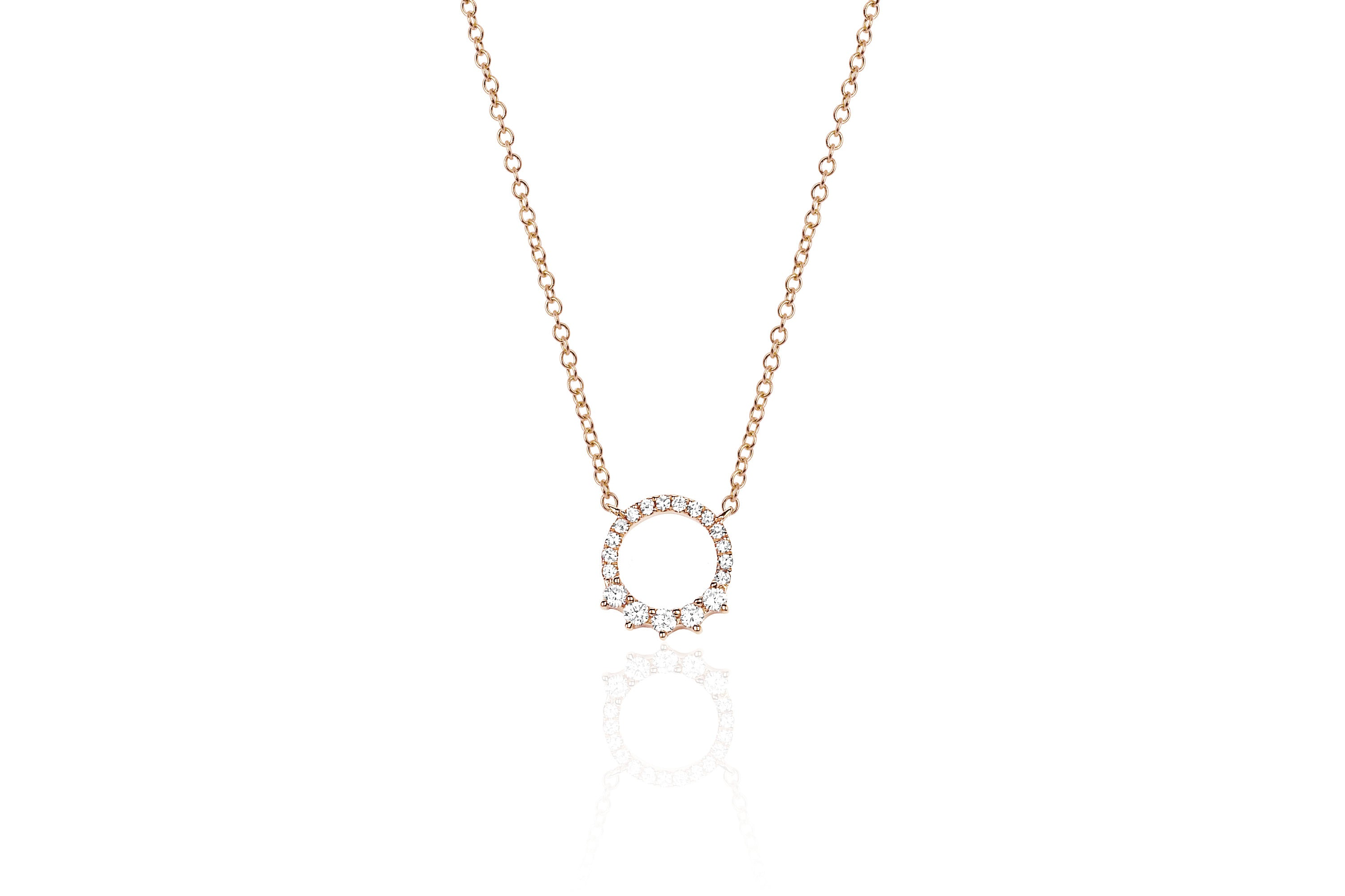 Variated Open Diamond Circle Necklace