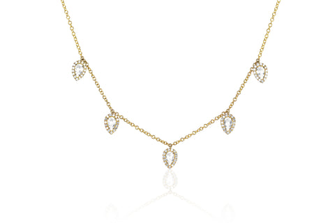 Diamond White Topaz 5 Teardrop Choker