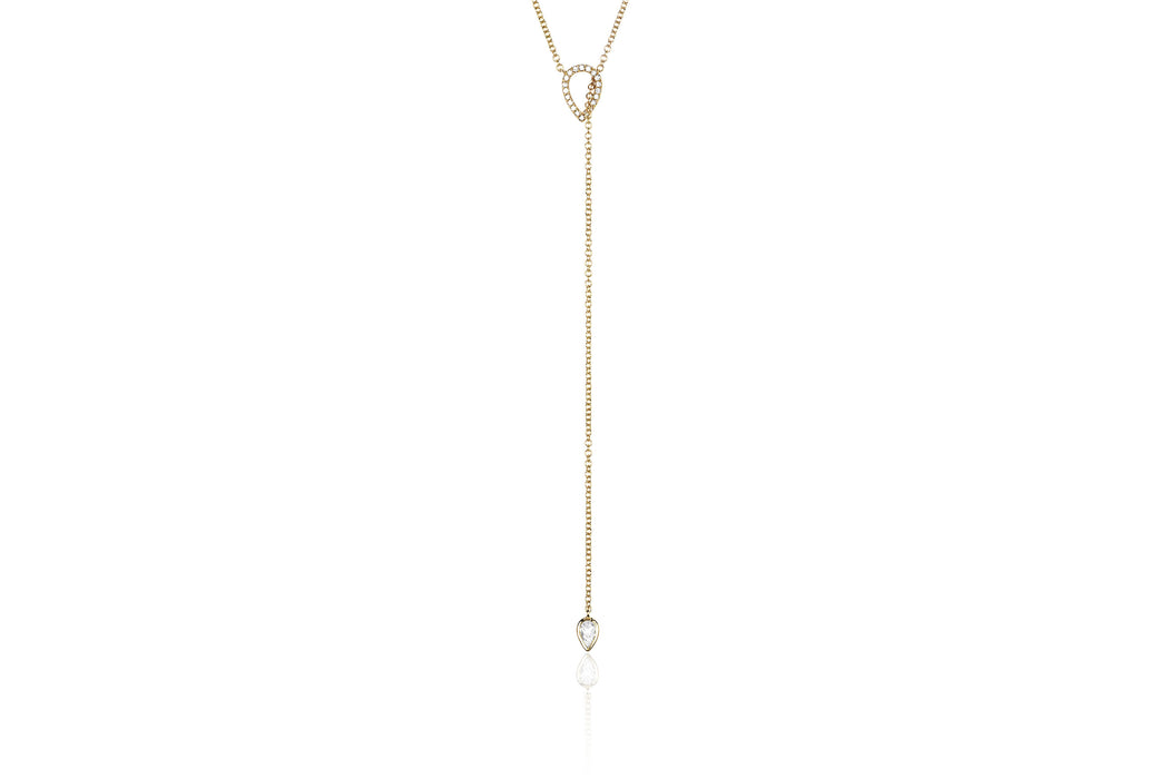 Open Teardrop Diamond Adjustable Lariat Necklace
