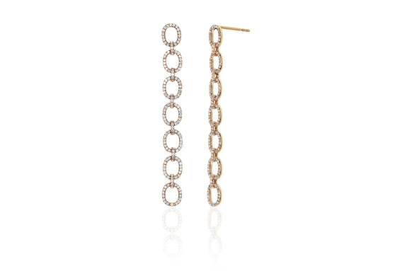 Diamond Chain Link Drop Earring