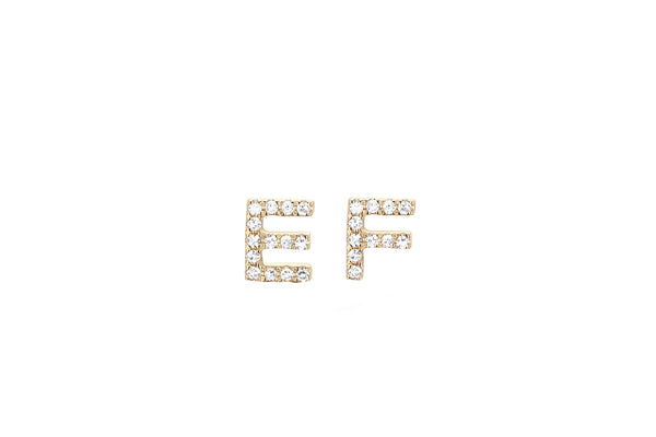 Diamond Initial Stud Earring
