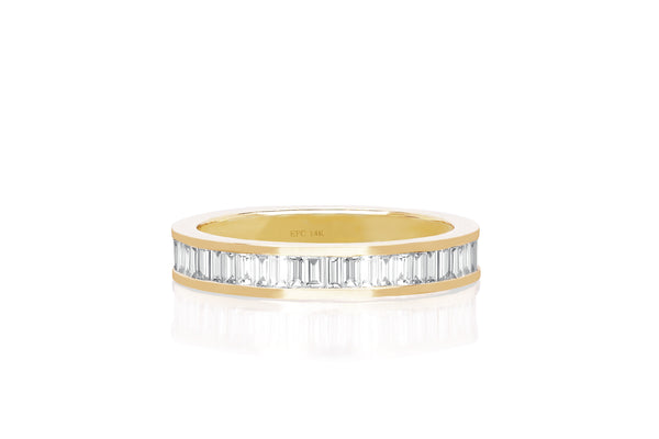 Half Diamond Channel Set Baguette Stack Ring