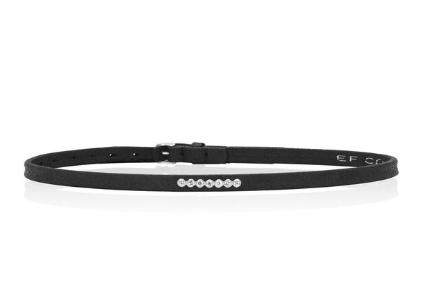 Diamond Bezel Bar Leather Choker / Double Wrap Bracelet