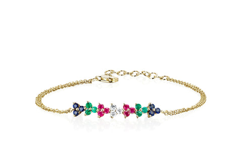 Rainbow Multi Trio Chain Bracelet