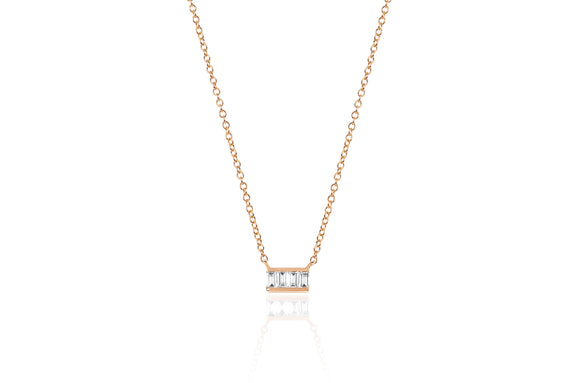 Diamond Baguette Mini Bar Necklace