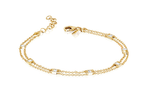 Lucky 7 Diamond Baguette Chain Bracelet