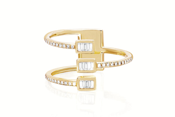 Diamond Baguette Triple Twist Ring