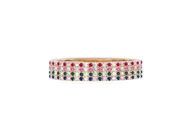 Diamond & Rainbow Dot Cigar Band Ring
