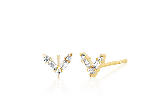 Diamond Baguette Chevron Stud Earring