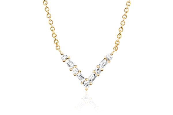 Diamond Baguette Chevron Necklace
