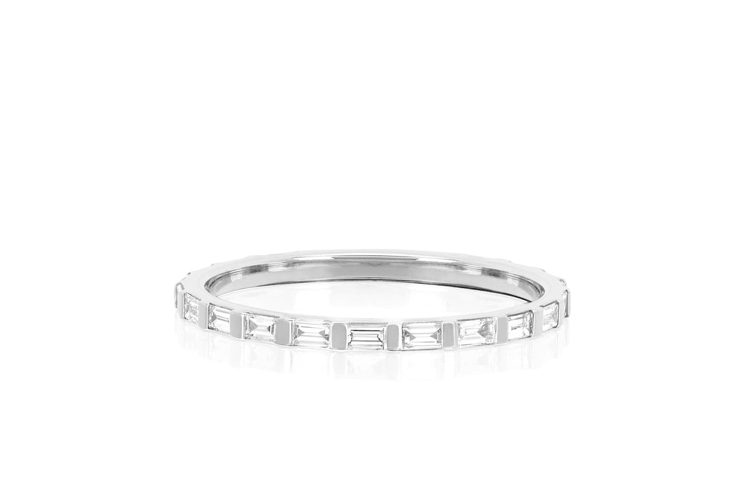 Half Diamond Baguette Eternity Stack Ring