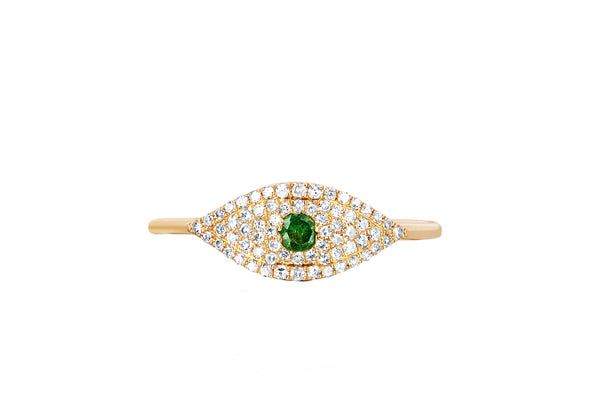 Diamond Jumbo Tsavorite Evil Eye Ring