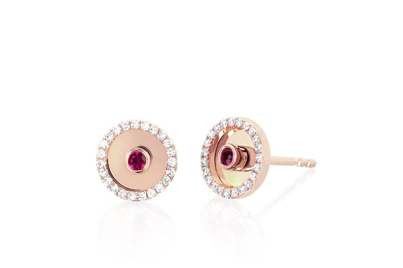 Diamond Ruby Bullseye Stud Earring