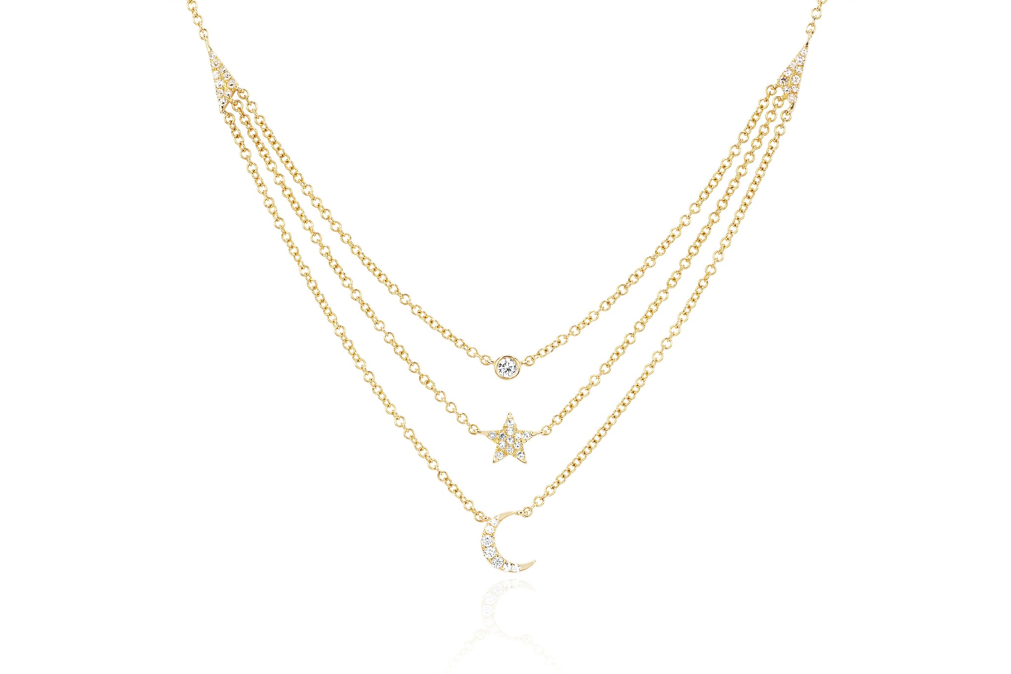 EF Collection Layered Diamond Star Charm Necklace in 14K Yellow Gold ePegwRJ7