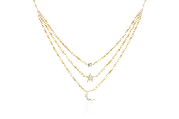 Diamond Bezel Star Moon Layered Necklace