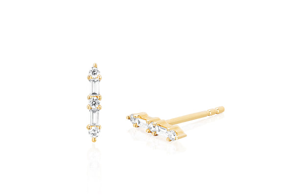 Prong Set Diamond Baguette Bar Stud Earring