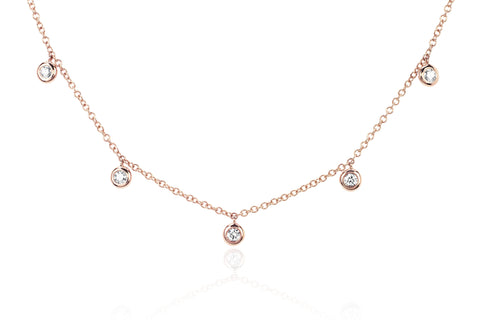 5 Diamond Bezel Choker Necklace