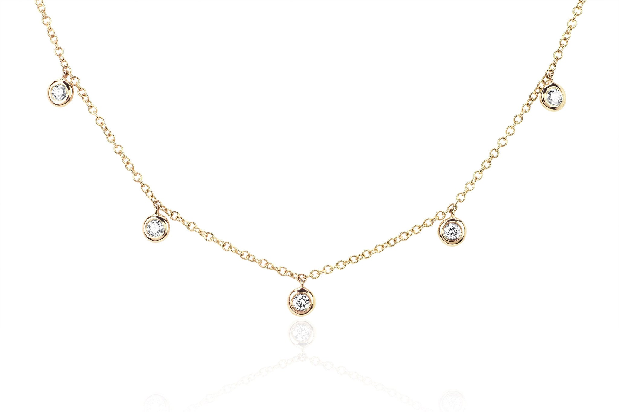 com inches jewelry box bezel set white cz chain amazon necklace round cubic gold dp zirconia carat