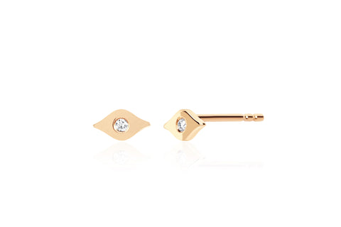 Gold & Diamond Evil Eye Stud Earring