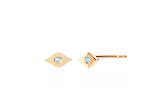 Gold & Opal Evil Eye Stud Earring