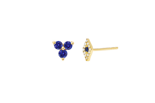 Mini Diamond Evil Eye & Blue Sapphire Trio Stud Earring